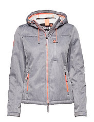 HOODED SHERPA WINDTREKKER - LIGHT GREY MARL/ECRU
