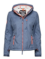 HOODED SHERPA WINDTREKKER - NAVY MARL/ECRU