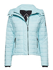 HOODED BOX QUILT FUJI JACKET - AQUA MINT MARL