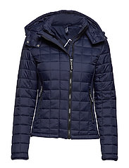 HOODED BOX QUILT FUJI JACKET - SPORT CODE NAVY