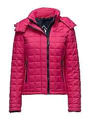 HOODED BOX QUILT FUJI JACKET - SPORT CODE PINK