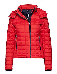 HOODED BOX QUILT FUJI JACKET - SPORT CODE RED
