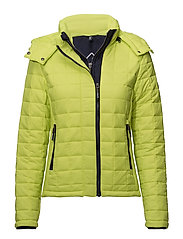 HOODED BOX QUILT FUJI JACKET - SPORT CODE YELLOW