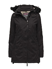HOODED MICROFIBRE PARKA - BLACK/CREAM BORG