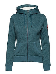 SUPERDRY STORM ZIPHOOD - RELAY TEAL MARL