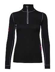MERINO BASE LAYER HALF ZIP TOP - BLACK