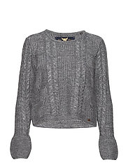 BELL SLEEVE MOHAIR CABLE KNIT - MID GREY MARL
