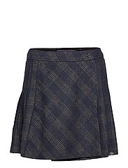 JOSIE PLEATED TWEED SKIRT - NAVY CHARCOAL CHECK