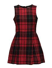 GEORGIE SHIFT DRESS - BLACK/RED TARTAN