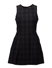 GEORGIE SHIFT DRESS - NAVY CHARCOAL CHECK