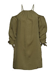 EDEN COLD SHOULDER DRESS - KHAKI