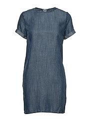SHAY TEE DRESS - BLUE ACID WASH