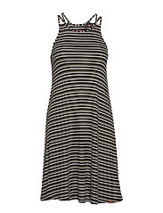 WILLIS STRIPE SWING DRESS - KHAKI CRU BLACK STRIPE