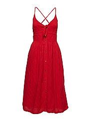 JAYDE TIE FRONT MIDI DRESS - NAUTICAL RED