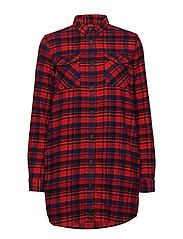 WILLOW CHECK SHIRT DRESS - RED NAVY CHECK