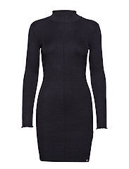 LIANA RIBBED KNIT DRESS - BLACK
