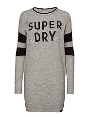 SCANDI KNIT SWEATER DRESS - GREY MARL