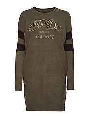 SCANDI KNIT SWEATER DRESS - KHAKI