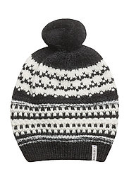 NORDIC PATTERN BOBBLE HAT - BLACK/CREAM
