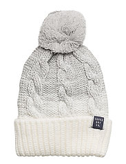 CLARRIE CABLE BEANIE - LIGHT GREY OMBRE