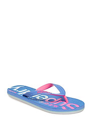 SCUBA FADED LOGO FLIP FLOP - BEACH BALL BLUE/FLURO PINK