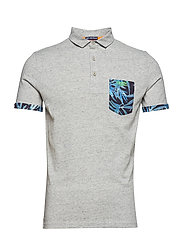 JERSEY AOP POCKET POLO - HARBOUR GREY GRIT