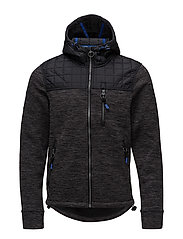 MOUNTAIN QUILTED ZIPHOOD - BLACK/GREY SPACE DYE