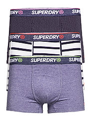 O.L SPORT TRUNK TRIPLE PACK - NAVY STRIPE/NAVY FEEDER/DITSY NAVY
