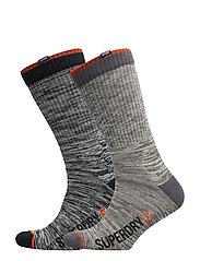 JET STREAM SOCK DOUBLE PACK - BLACK SLUB/OATMEAL SLUB