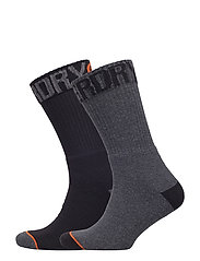 SURPLUS GOODS SOCK DOUBLE PACK - BLACK/CHARCOAL SLUB
