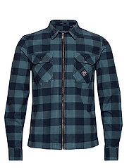 WORKWEAR L/S ZIP THROUGH - BLUE CHECK