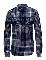 MILLED FLANNEL L/S SHIRT - LAVENHAM NAVY CHECK
