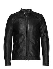 LIGHTWEIGHT LEATHER RACER - BLACK