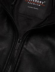 Superdry - LIGHTWEIGHT LEATHER TRACK JKT - lederjacken - black - 3