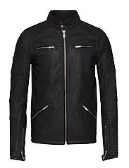 PREMIUM LEATHER RACER JACKET - BLACK