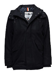 GLACIAL HOODED WOOL PARKA - NAVY