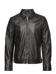 CURTIS LIGHT LEATHER JACKET - BLACK