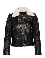Aviator Leather Biker - BLACK
