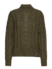 DALLAS CHUNKY CABLE KNIT - ARMY KHAKI