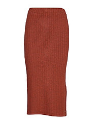 RIB MIDI SKIRT - REDWOOD
