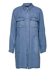 TENCEL OVERSIZED SHIRT DRESS - MID WASH