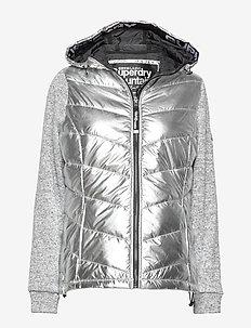 STORM HYBRID METALLIC ZIPHOOD - padded jackets - silver shine/silver gritty