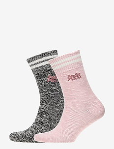SUPERDRY SPORTY MARL SOCKS (DOUBLE PACK) - MONO/BLUSH PINK