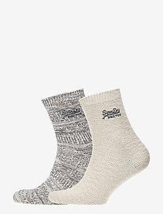 ALL OVER SPARKLE SOCKS (DOUBLE PACK) - PEWTER/CREAM SPARKLE