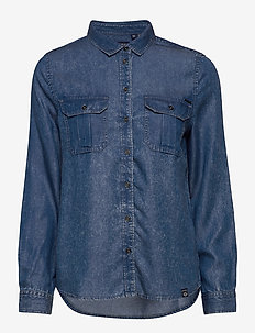 XENIA ACID WASH SHIRT - long-sleeved shirts - blue acid wash