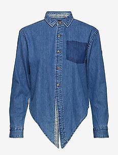 DENIM TIE SHIRT - jeansskjortor - geo blue