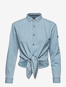 DENIM TIE SHIRT - GEO SKY