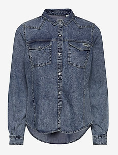 WESTERN DENIM SHIRT - jeansblouses - acid blue