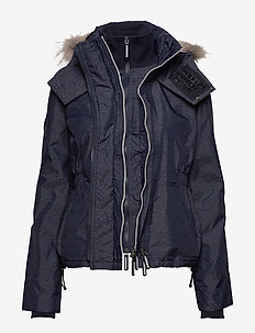 HOODED FUR WINTER WINDATTACKER - NEW NAVY MARL