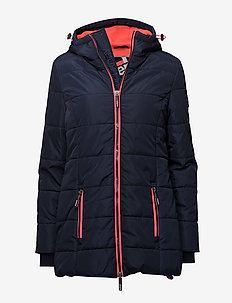 TALL SPORTS PUFFER - NAVY/FLURO CORAL